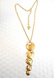 STUNNING GOLD TONE NECKLACE WITH HAMMERED DANGLES & RHINESTONES