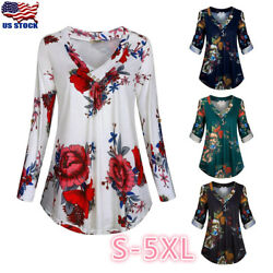 Plus Size Women Floral V Neck Tunic Top Shirt Casual Loose Long Sleeve Blouse US $15.19
