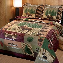 Moose Lodge Quilt Set Full Queen 3 PC Shams Rustic Bedding Bedroom Cabin Decor