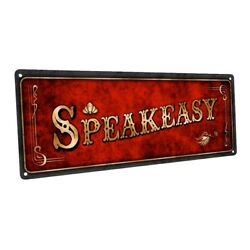 Red Speakeasy Metal Sign; Wall Decor for Home and Office $36.99