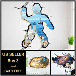 US 3D Wall stickers Beach Sea Sky Universe Love Room Decal Wallpaper Removable $9.99