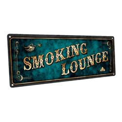 Blue Smoking Lounge Metal Sign; Wall Decor for Home and Office $36.99