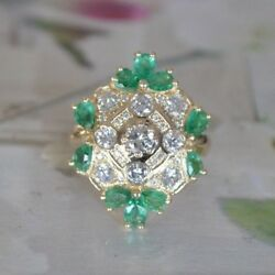 Diamond and Emerald Cocktail Ring- Vintage Look