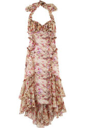 NWT $3790 zac posen siren floral silk chiffon halter neck dress sz4 or 6