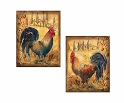 Countryside Tuscan Roosters Country Kitchen Art Prints 2 8x10in Paper Posters $10.99