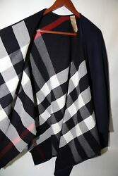 Burberry Check to Solid Wool Cape  RETAIL $950