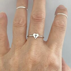 Sterling Silver Tiny Cross in Heart Ring Dainty Ring Cross Ring $15.99