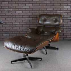 Eames Lounge Chair and Ottoman for Herman Miller Brown & Rosewood Vintage 1980