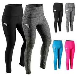 Women High Waist Yoga Leggings Pocket Fitness Sport Gym Workout Athletic Pants G