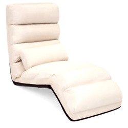 Best Choice Products Folding Floor Lounge Sofa Chair w Pillow (Beige)