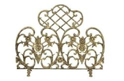 Fireplace Screen Single Panel Cast Aluminum Antique Gold Finish Floral Accents