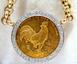 1993 SINGOLD FINE GOLD COIN 1.00CT DIAMONDS ITALIAN LINK NECKLACE HUGE+