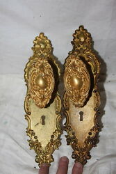 Antique Gilt Bronze Louis XV Oval Door Knobs & Plates Detailed Repousse
