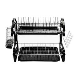 2 Tiers Kitchen Dish Cup Drying Dryer Rack Holder Organizer Tray Cutlery Black $21.29