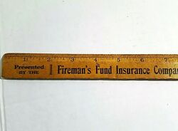 ANTIQUE c1910 WOOD ADVERTISING RULER Fireman's Fund Insurance Westminster MD