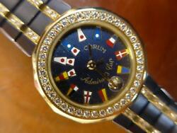 Corum Admiral's Cup diamond K18YG cancer Blue Ladies