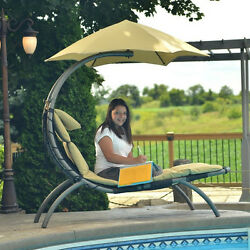 Tan Canopy Single Seat Patio Chaise Lounge Hammock Home Outdoor Furniture Deck
