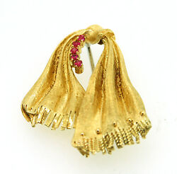 Rare Vintage Solid 18KT Yellow Gold UNO AR Ruby Knotted Scarf Pin