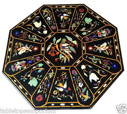 Size 4'x4' Marble Dining Center Table Top Inlay Mosaic Birds Art Home Decor Art