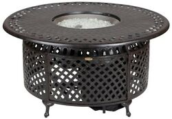 LPG Fire Pit Round Tabletop 48 in. x 24 in. Cast Aluminum Stainless Steel Burner