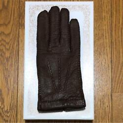Dents Brown peccary & cashmere leather gloves