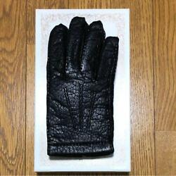 Dents black peccary & Cashmere leather gloves