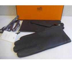 Hermes gloves glove 8.5 leather unused lowest cashmere