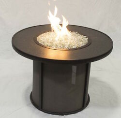 Great Room Stoneware 32 Round Fire Pit Table Heater Ambiance Modern Patio Flame