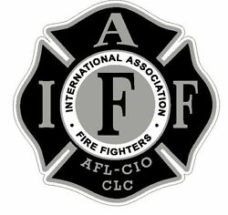 4quot; IAFF Decal Black and Silver Exterior Mount READ AUCTION