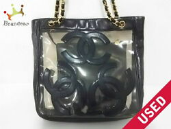 CHANEL tote bag triple here clear chain shoulder lambskin vinyl