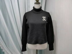 CHANEL 96A vintage 100% cashmere turtleneck here mark kangaroo knit 46 RCP (K143