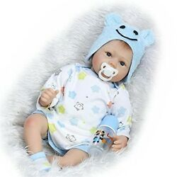 Realistic Lovely Reborn Baby Doll Silicone Babies Blue Hat Boy 22 inch Magnetic