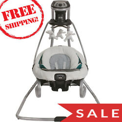 Graco DuetSoothe Swing and Rocker Sapphire Option To Plug In Or Use Batteries