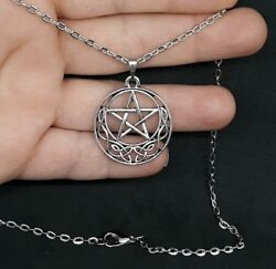 CELTIC MOON PENTAGRAM PENDANT WICCAN PAGAN DRUID SILVER NECKLACE