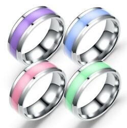 2019 Men Stainless Steel Epoxy Ring Smooth Simple Ring Fashion Jewelry Size 6-12