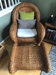 Vintage Pottery Barn Malabar Rattan Reading Chair Cushion And Ottoman