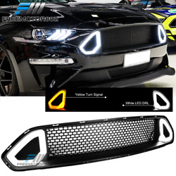 Fits 2018-2019 Ford Mustang ABS Black Front Upper Grille Hood W DRL LED Lights