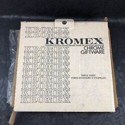 Kromex 3 Tier Serving Tray Stainless Chrome Mid Century Modern NEW Vintage USA