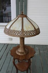 LARGE ANTIQUE SLAG GLASS SHADE TABLE LAMP ARTS AND CRAFTS MISSION STYLE GOTHIC $850.00