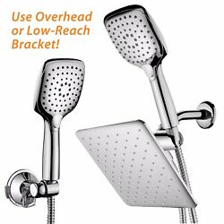 HotelSpa® 10.5 Inch Rain Shower Head Combo with Convenient Push-Button