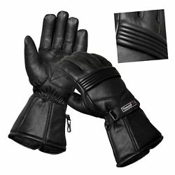 Mens Genuine Leather Motorcycle Gloves Motorbike Riding Glove Thermal Lining $12.99