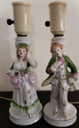 Set of Two 2 Vintage Victorian Lamps Ceramic Porcelain 9.5quot; Tall Made in Japan $36.00