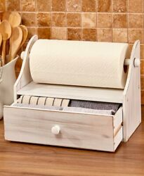 Wooden Rustic Country Kitchen Counter Top Paper Towel Holder with Storage Drawer