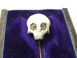 18th Century Memento Mori  French diamond set Skull  to an 18ct gold stick pin