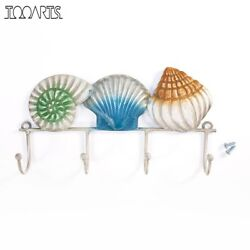 Iron Key Clothes Bag Holder Colorful Shell Wall Hook Cast Iron Hanging Wall Hook