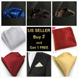 Men#x27;s Satin Silk Pocket Square Hankie Hankerchief Wedding Party Formal Suit $4.99