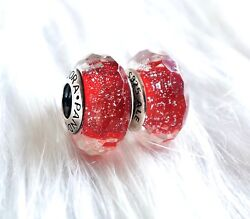2  Pandora silver Murano Charm Beads Snow White Red shimmer  Glass Look
