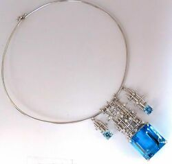 GIA Certified 117.17ct natural blue topaz aquamarine diamonds necklace 14kt