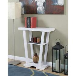 Newport White V Console Table w Open Shelves Wood Modern Entryway Home Decor $110.74