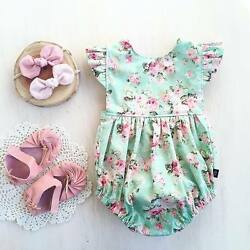 US Newborn Baby Girl Romper Floral Bodysuit Sunsuit Summer Clothes Outfits 0-18M